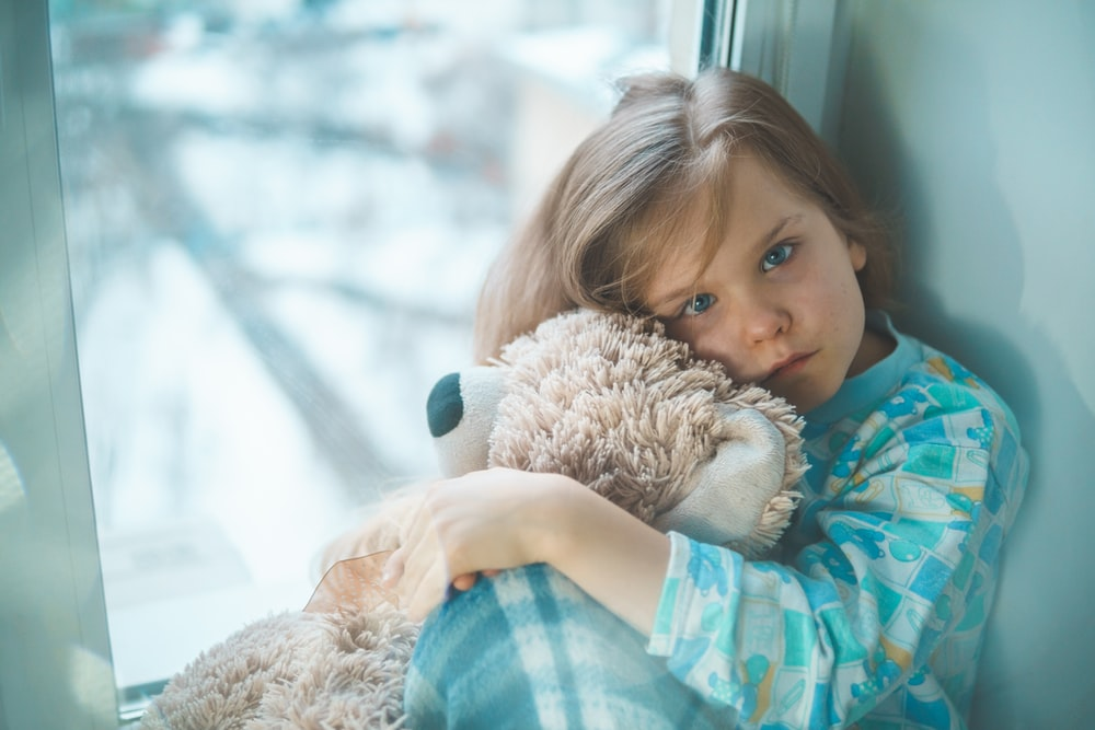 girl in blue white and red plaid shirt hugging brown teddy bear