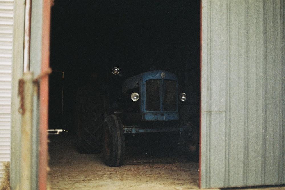 black car parked in garage