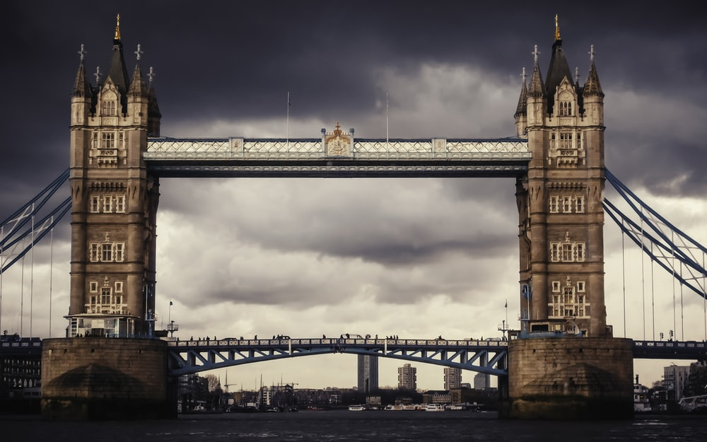 brown bridge under gray clouds