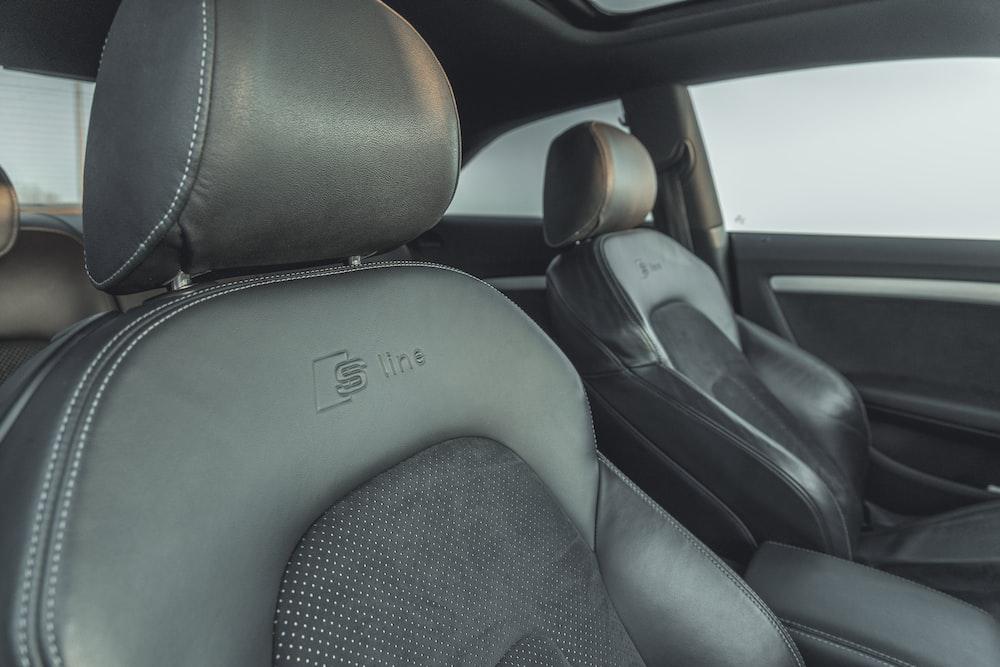 black car seat and steering wheel