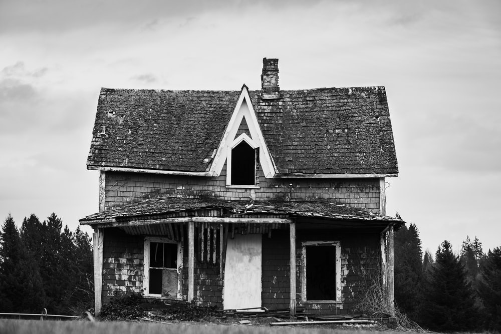 grayscale photo of wooden house