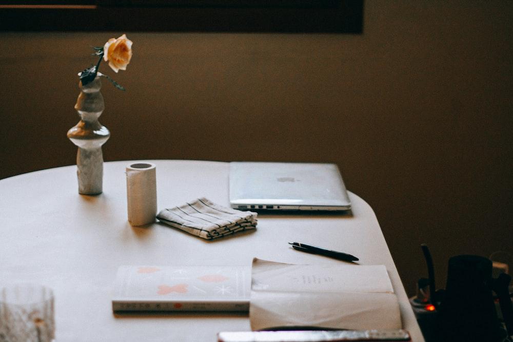 white printer paper on table