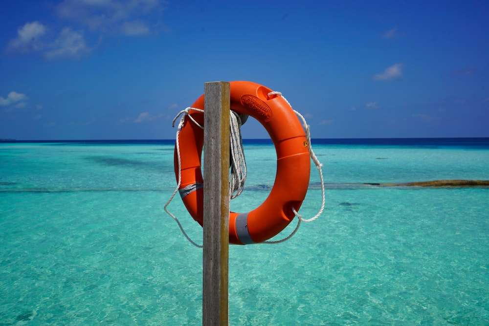 orange and white life buoy hanged on brown wooden post during daytime