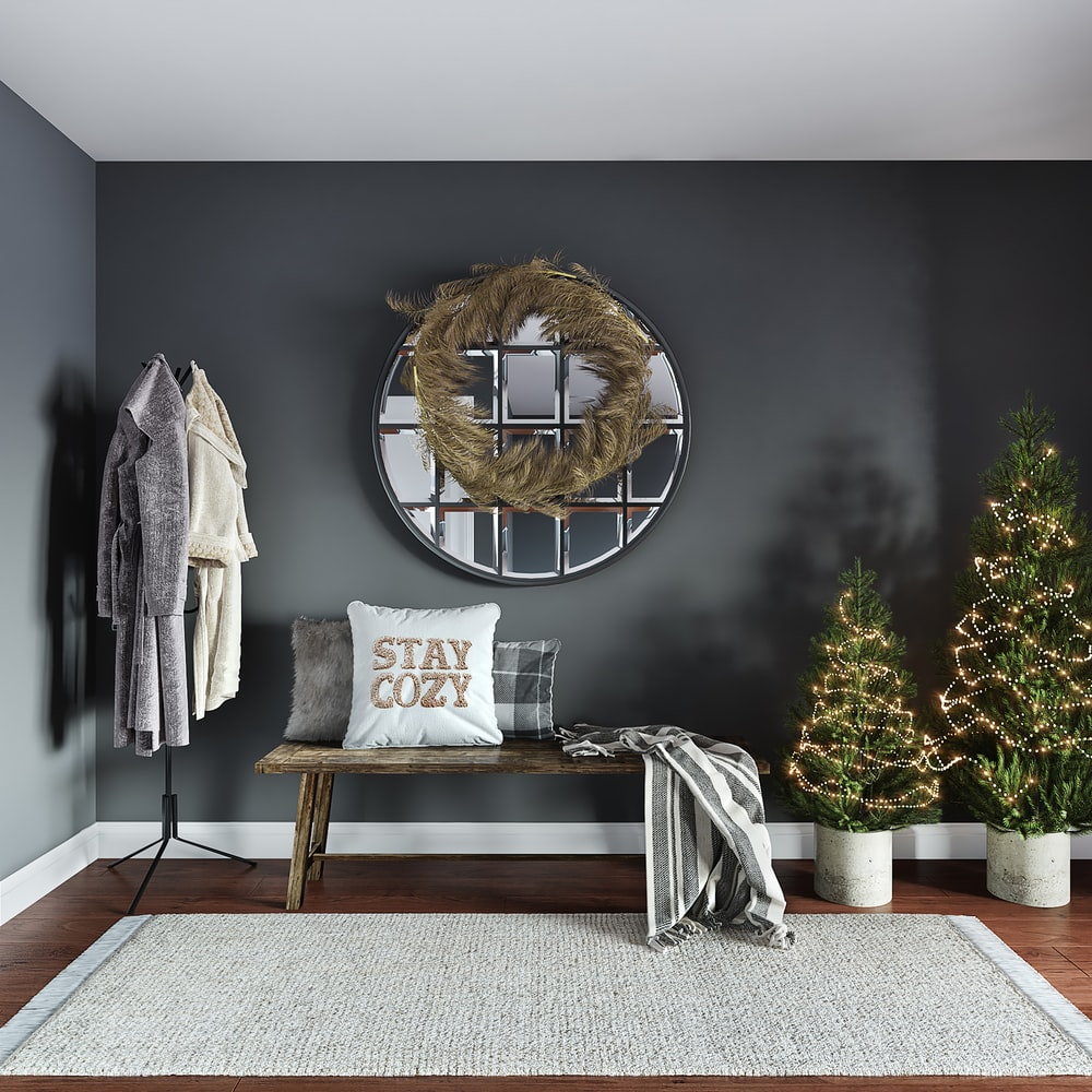 gray coat on gray steel chair