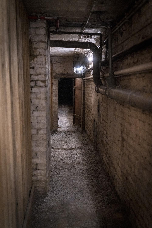 brown wooden door in a hallway