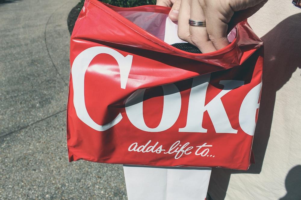 red and white coca cola tote bag