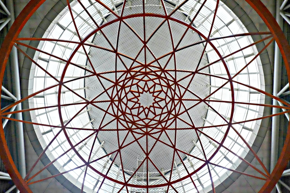 white and red round ceiling