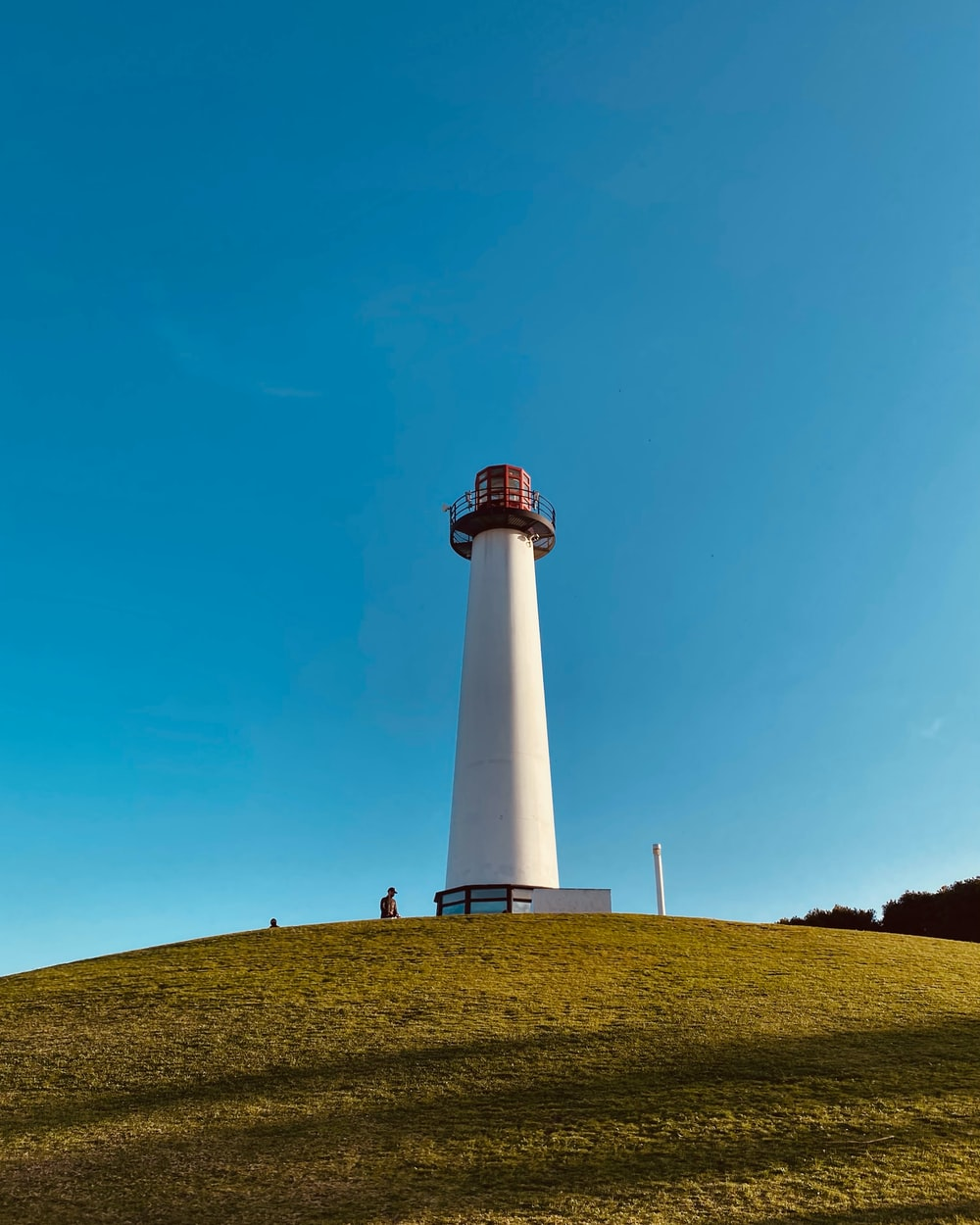 white and red lighthouse on green grass field under blue sky during daytime