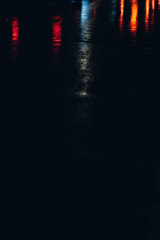 red lights on black surface