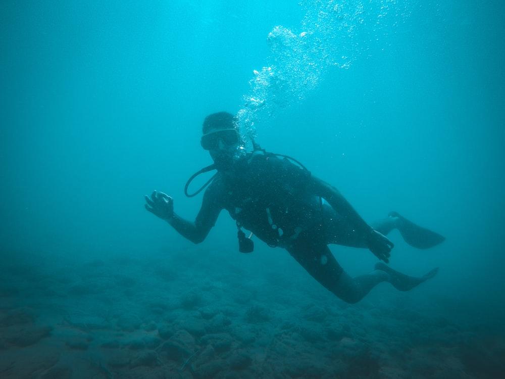 man in black wetsuit under water