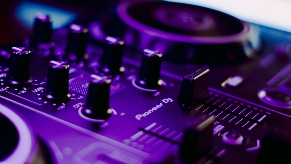 purple and black audio mixer