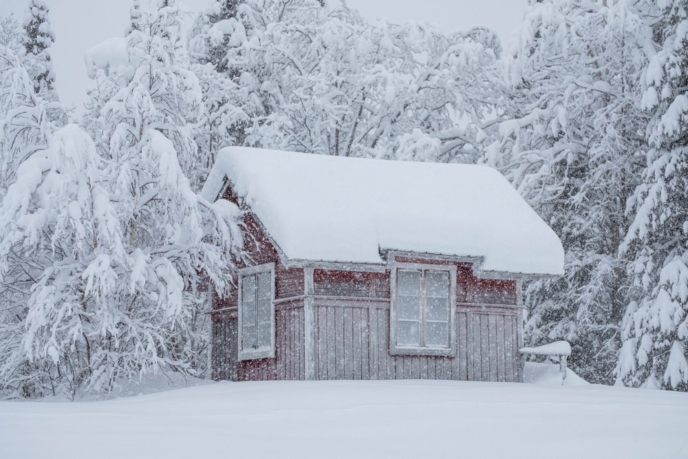 brown wooden house covered with snow