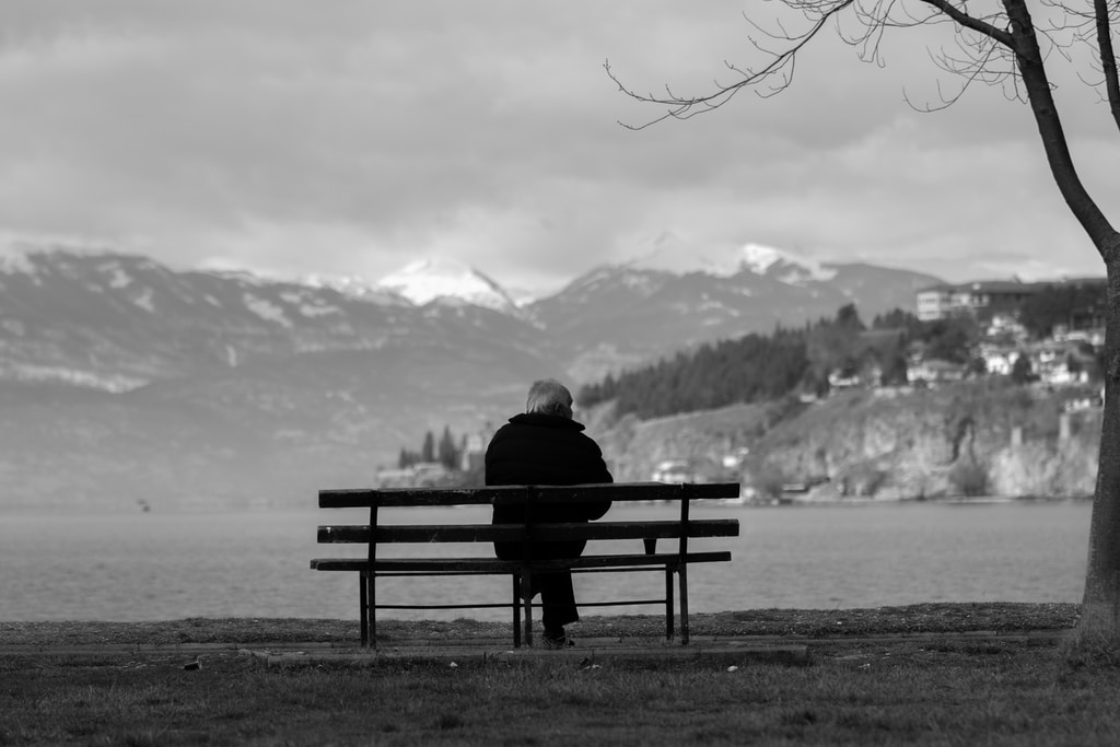 person sitting on bench facing the lake