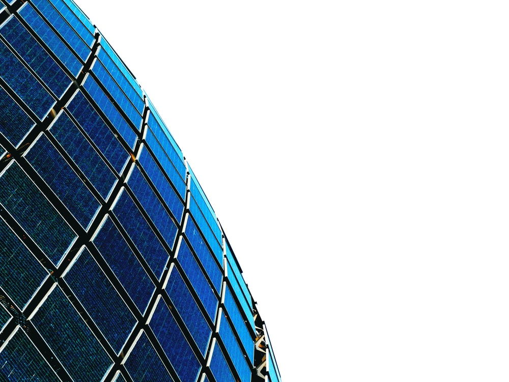 blue and black glass building