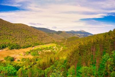 Green trees on green grass field under blue sky during daytime. Landscape mountain during daytime. Oma, Kortezubi, Vizcaya - Euskadi.
