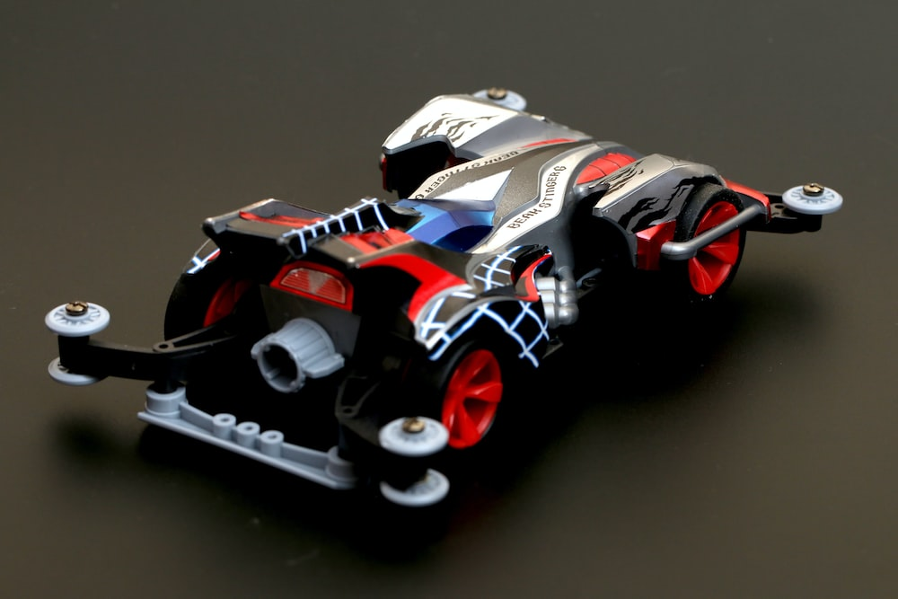 white red and black r c car
