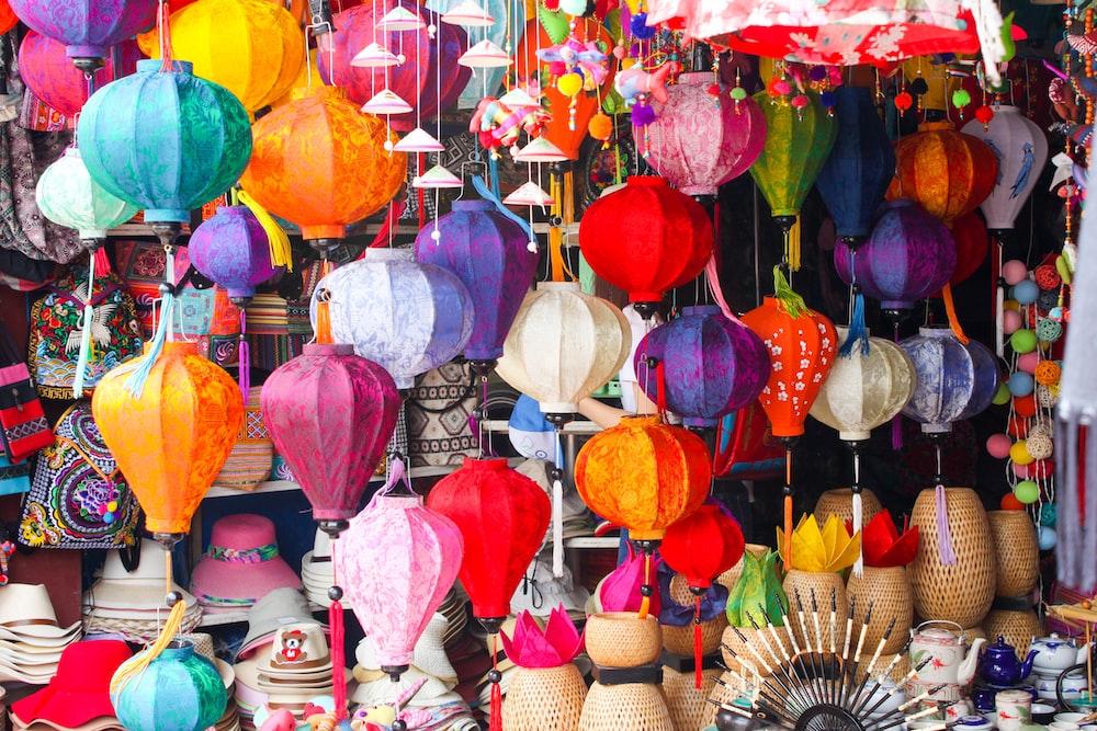 assorted color paper lantern lot