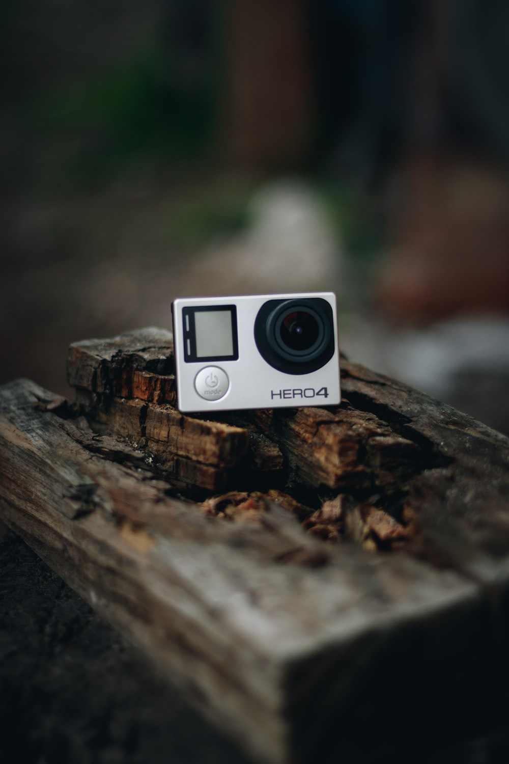 white and black camera on brown wood
