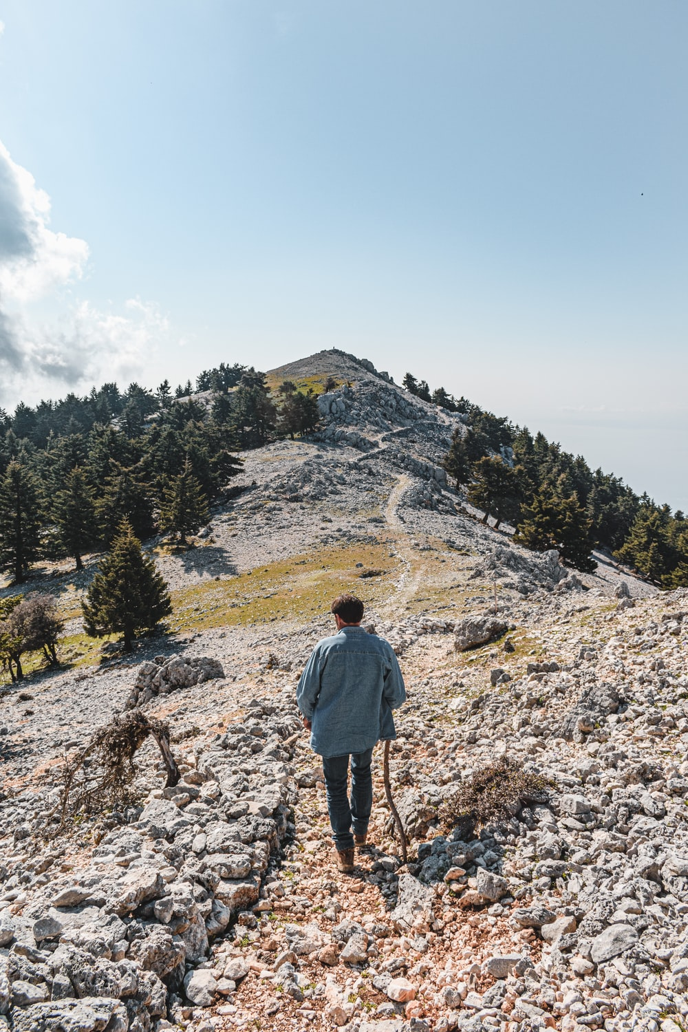 man in gray hoodie standing on rocky hill during daytime