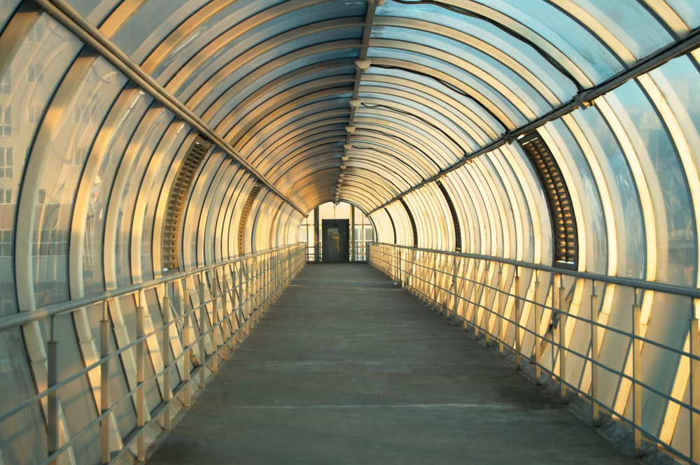 brown wooden tunnel with glass roof