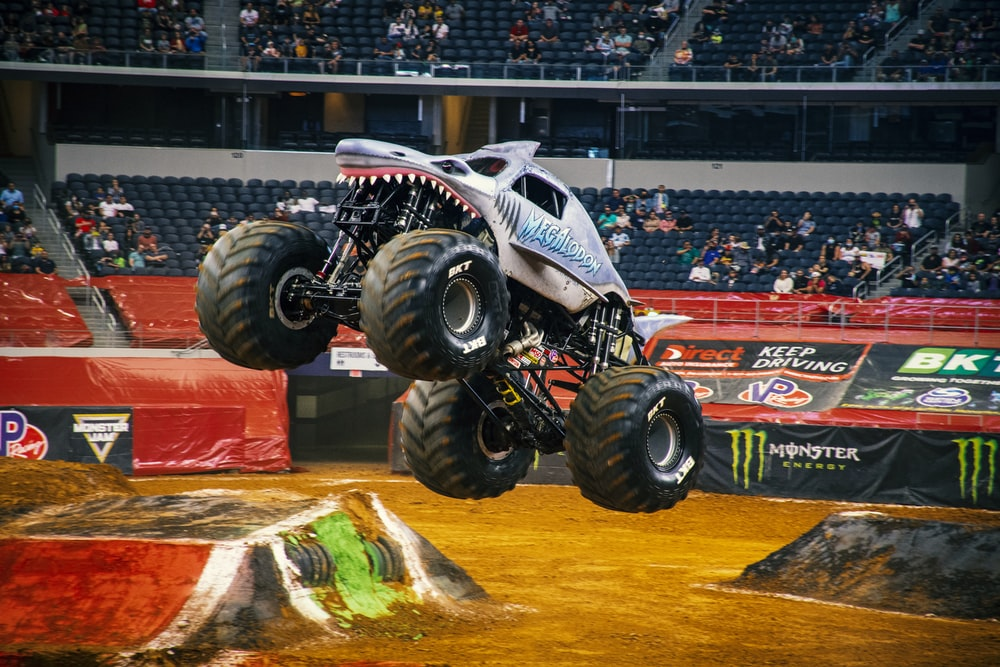 white and black monster truck toy
