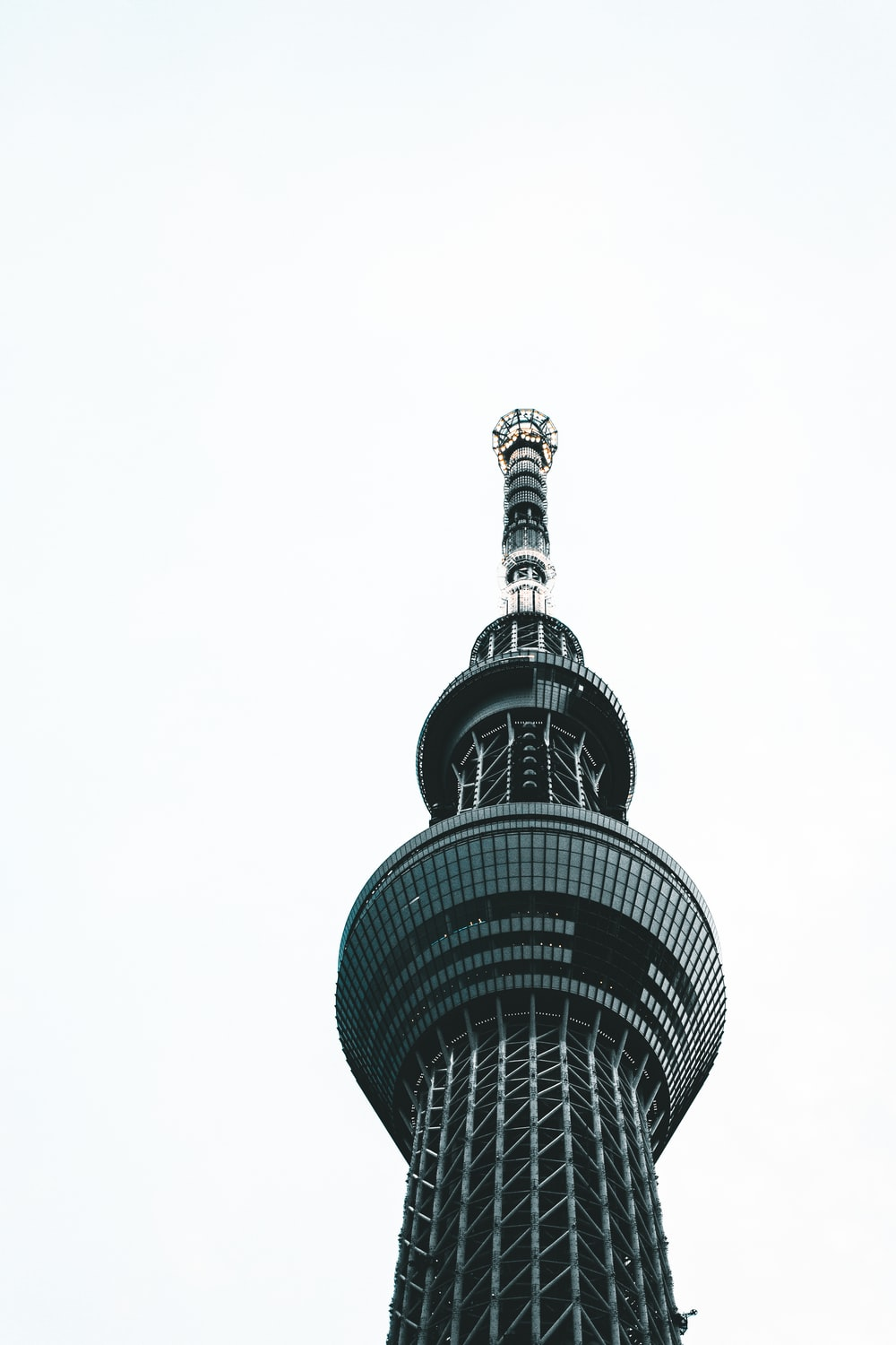black and white tower under white sky