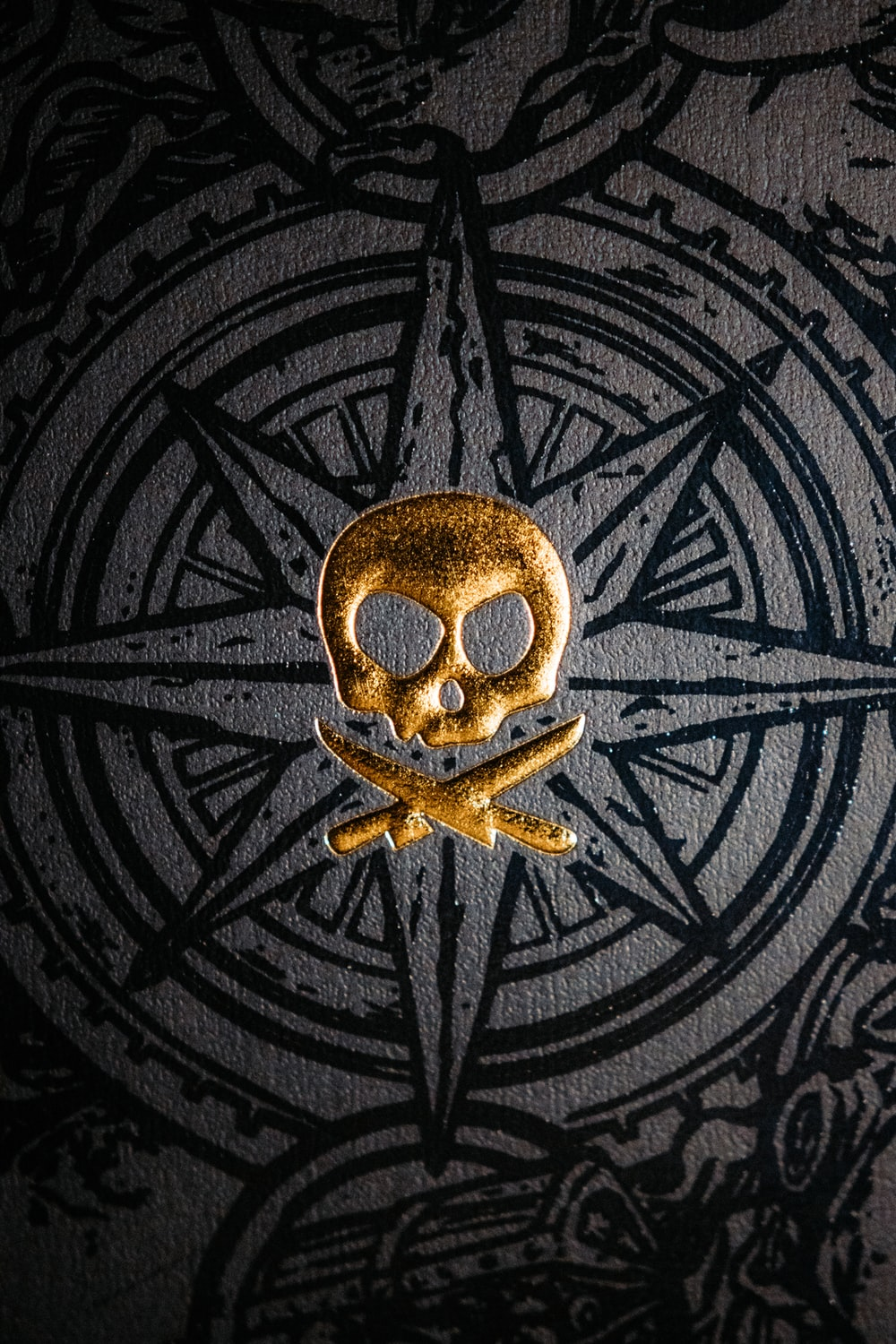gold and black metal round decor