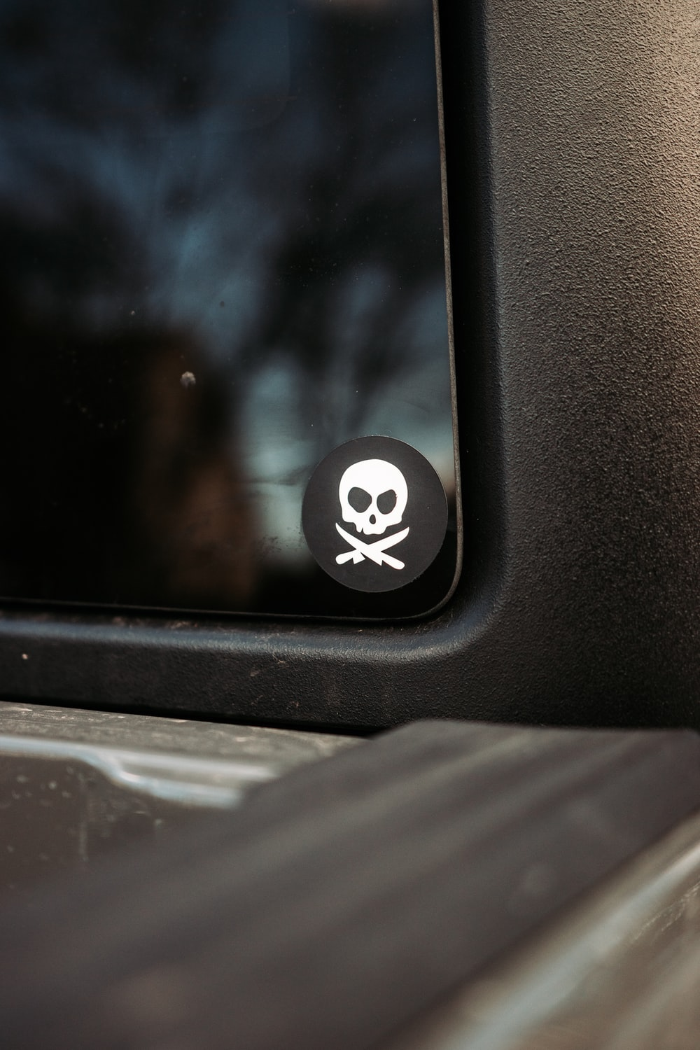 black and white car door