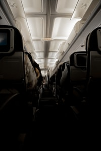 white and black airplane seats