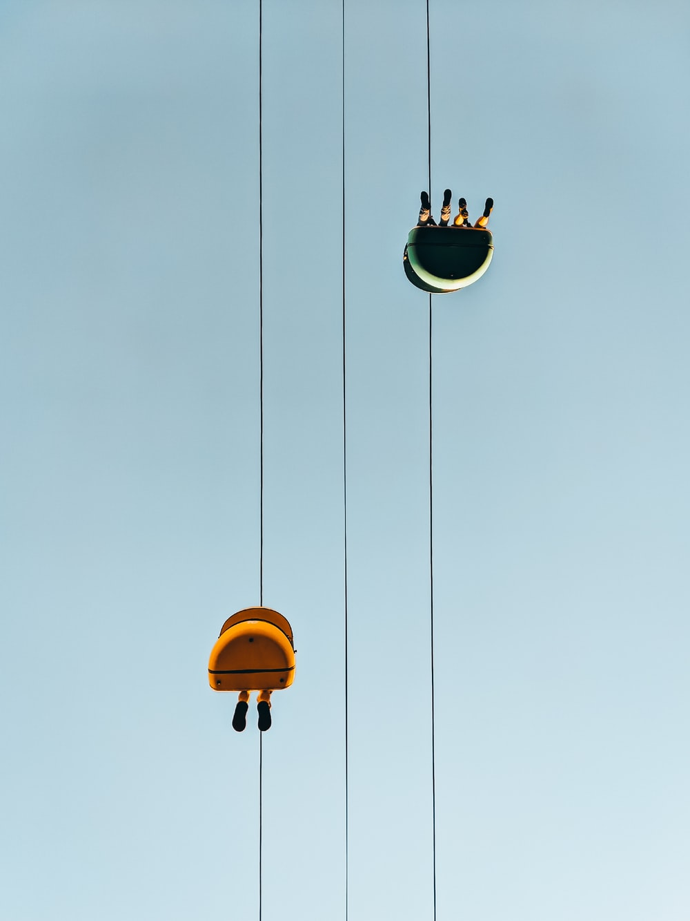 yellow and black cable cars