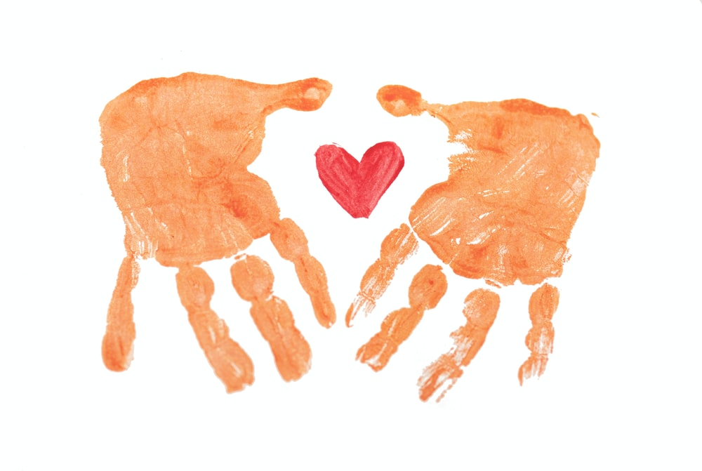 3 brown hand with white background