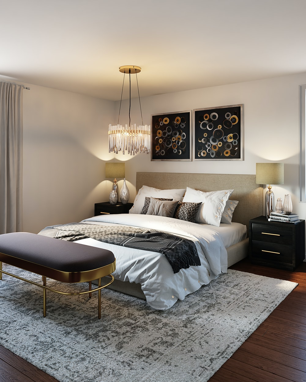white and black bed linen
