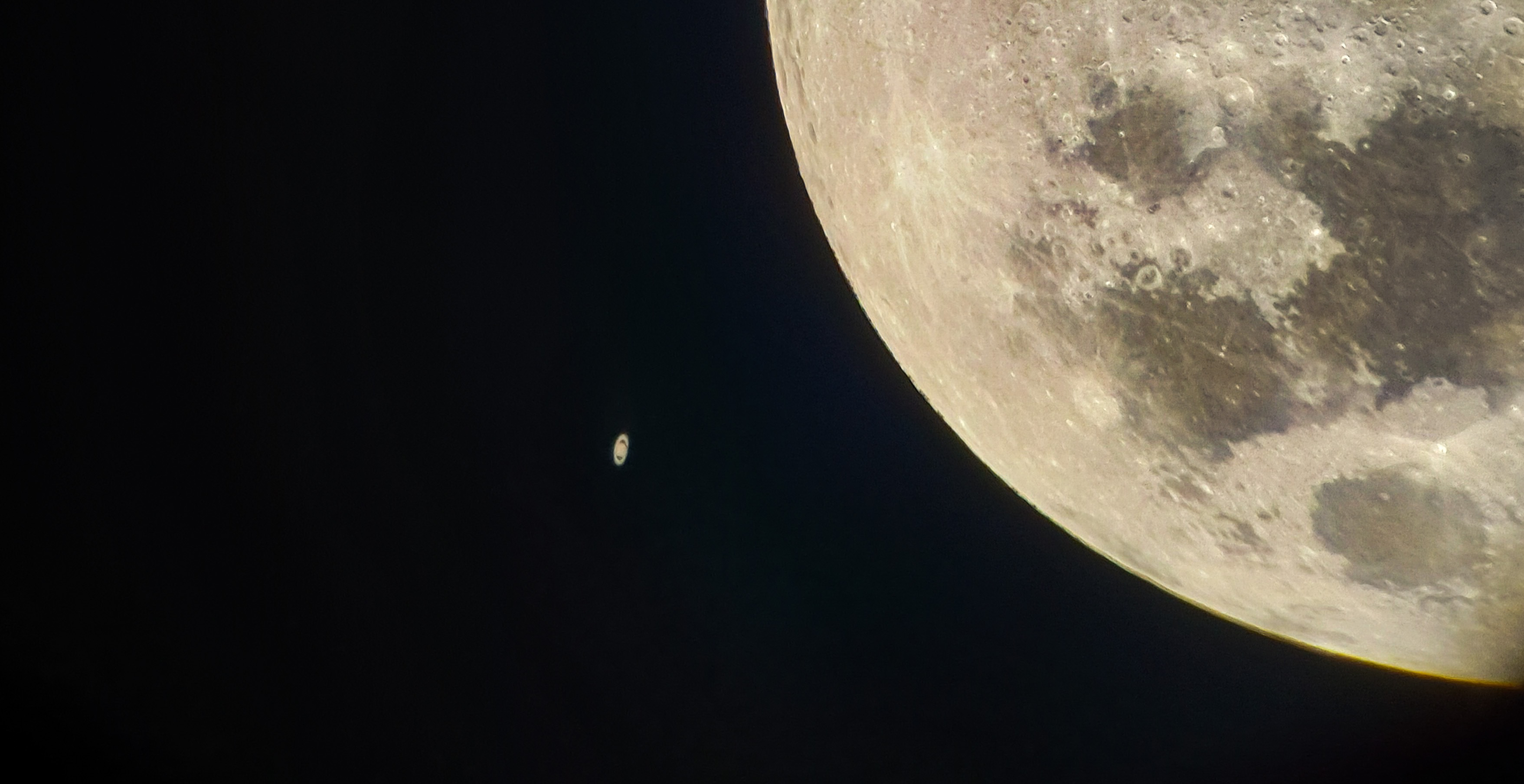 """Occultation of the Moon & Saturn 2018-to me to get this picture was an absolute highlight. I was using my Skywatcher Dobson 8"""" with Samsung gs7 phone. Location was Perth, Western Australia. I hope you enjoy."""