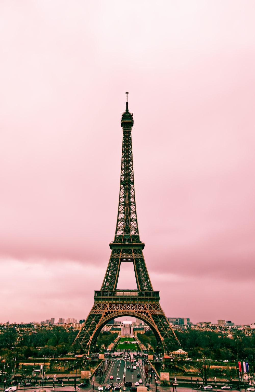 eiffel tower under gray sky