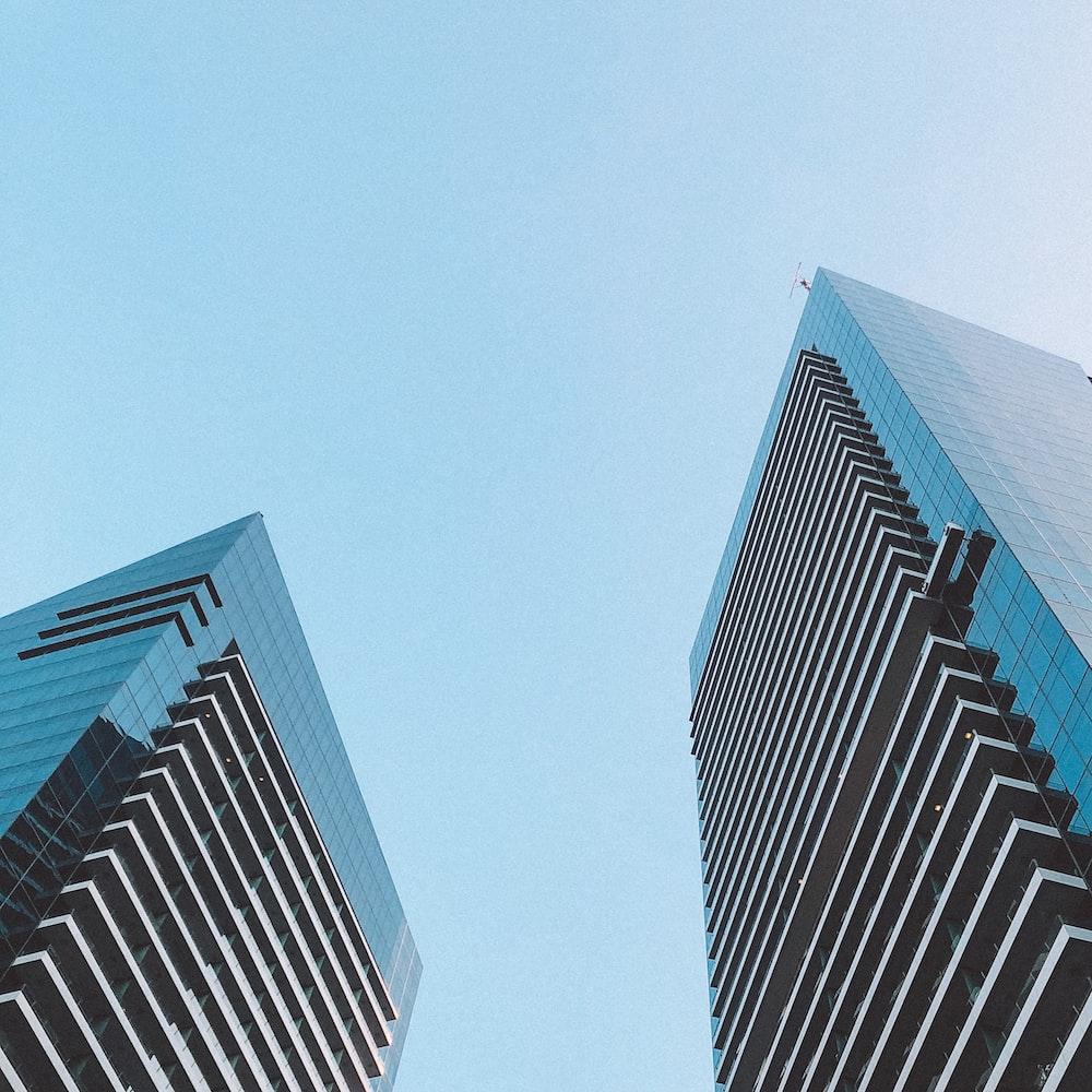 blue and white concrete building