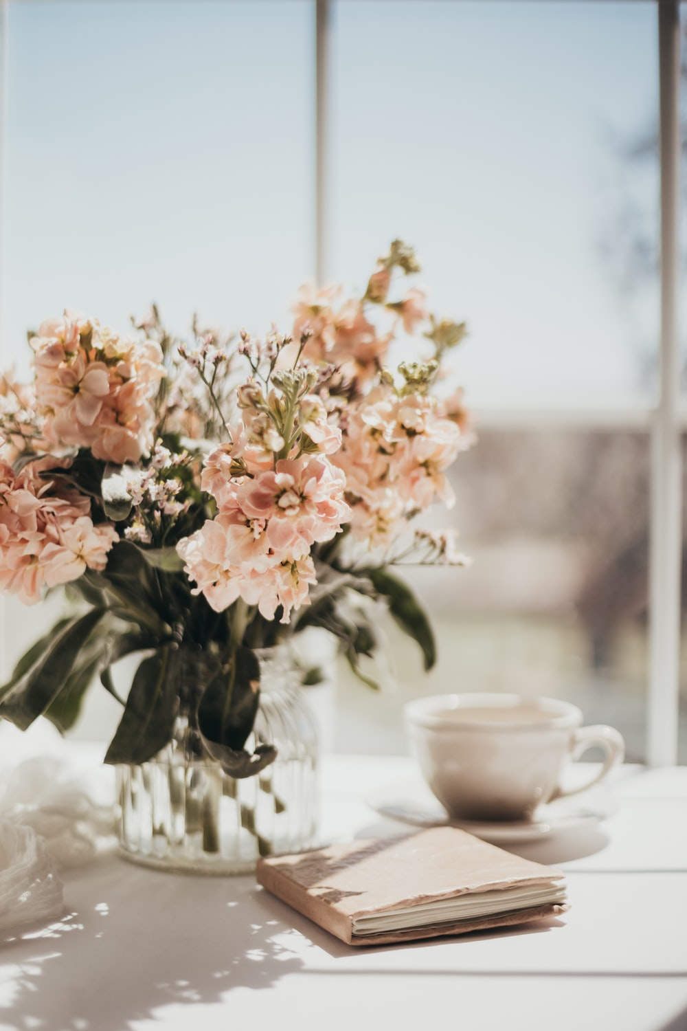 white and pink flowers on white ceramic teacup on white table
