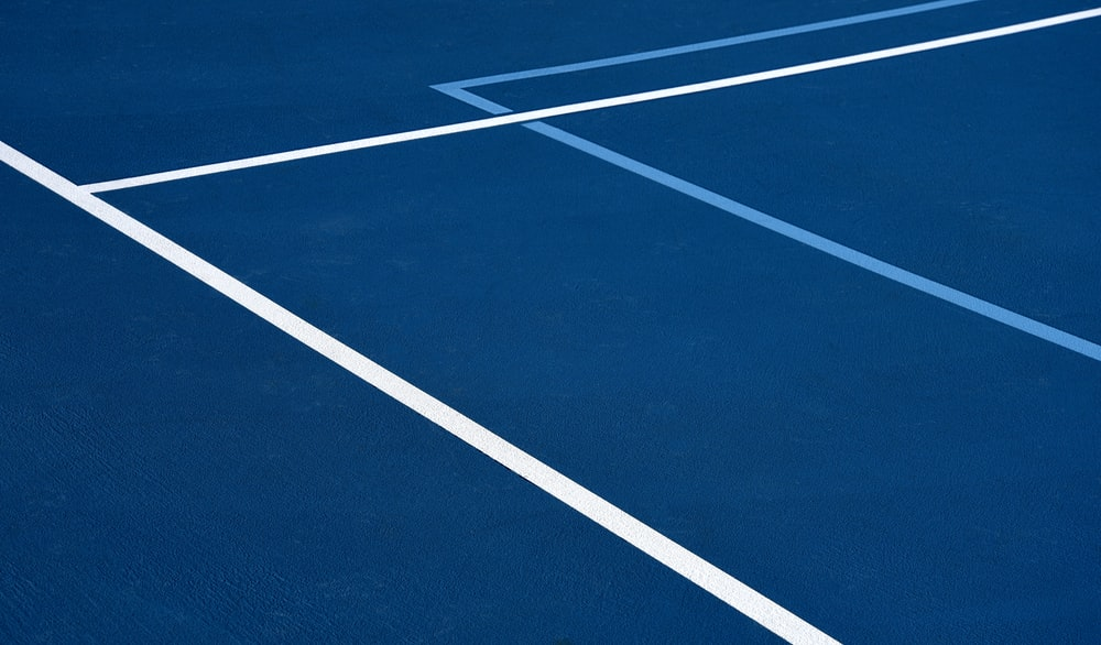 blue and white track field