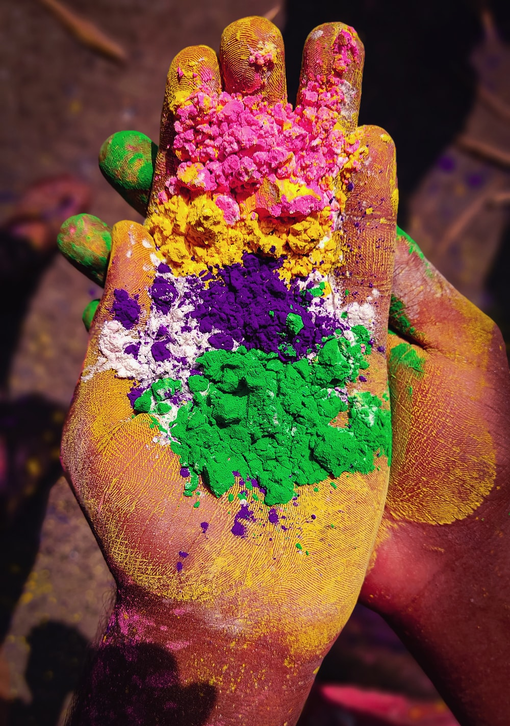 purple yellow and green paint
