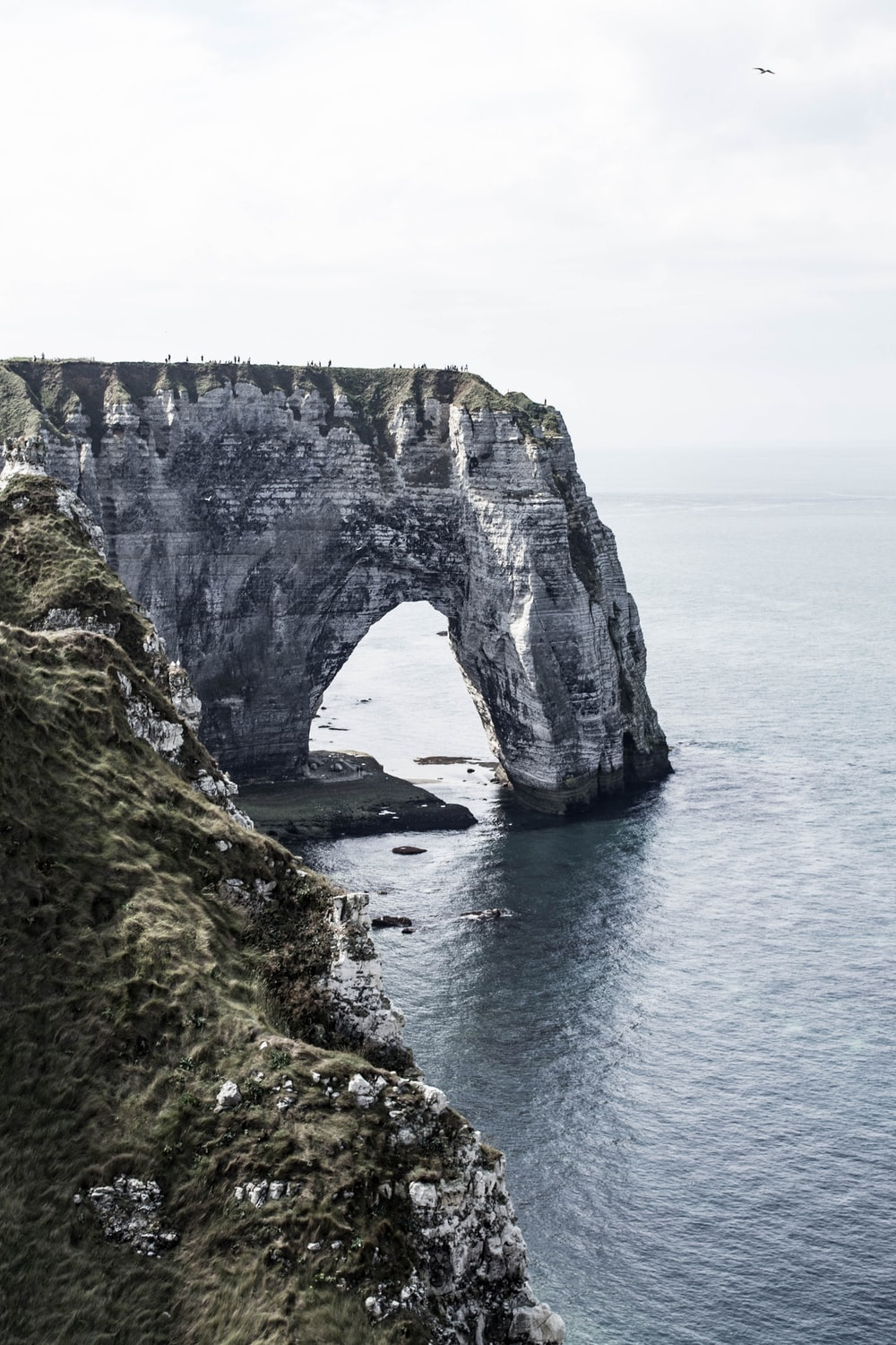 gray and green rock formation on sea during daytime