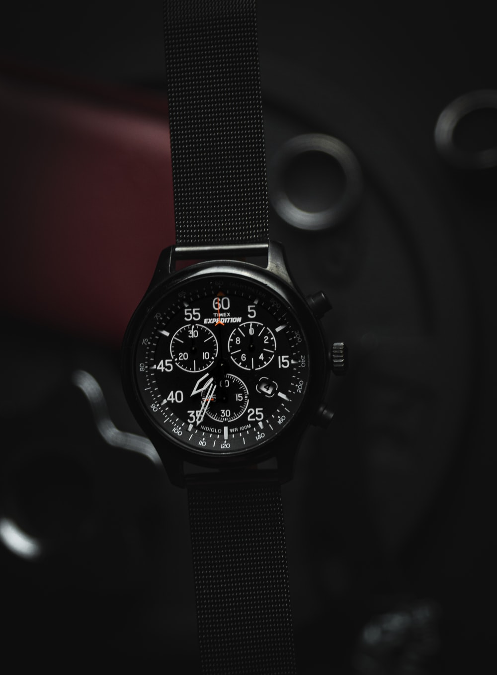 silver and black chronograph watch