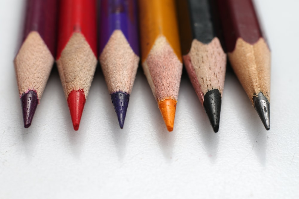 color pencils on white surface