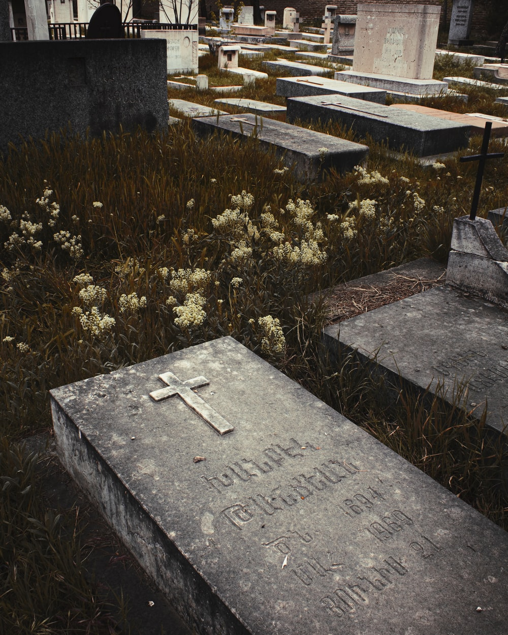 gray tomb stone near green grass during daytime