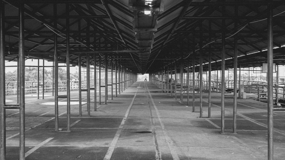 grayscale photo of a metal frame