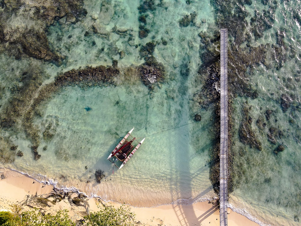 aerial view of boat on sea shore during daytime