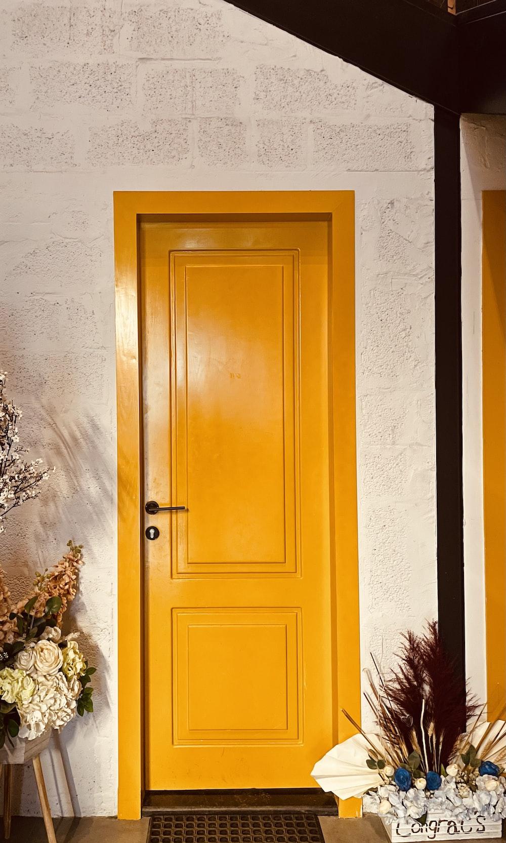 brown wooden door beside green plant