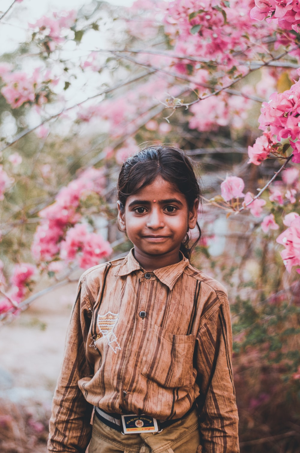 boy in brown button up shirt standing near pink flowers during daytime