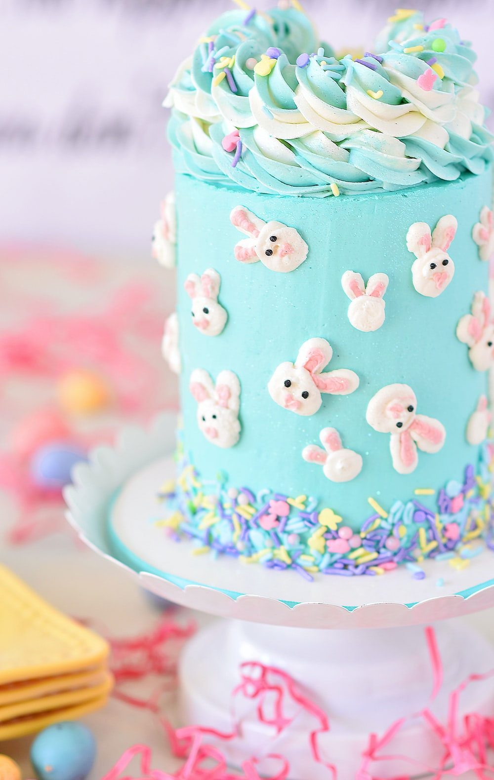 blue and white polka dot cupcake