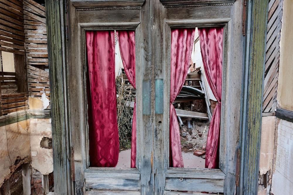 red and blue wooden door