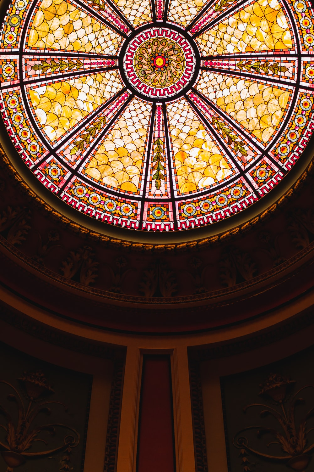 brown and black floral dome ceiling
