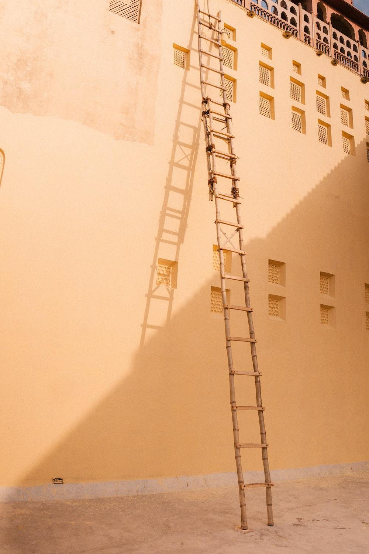 white and black metal ladder